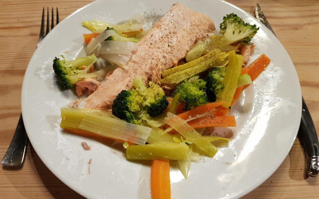 Saumon et légumes vapeur