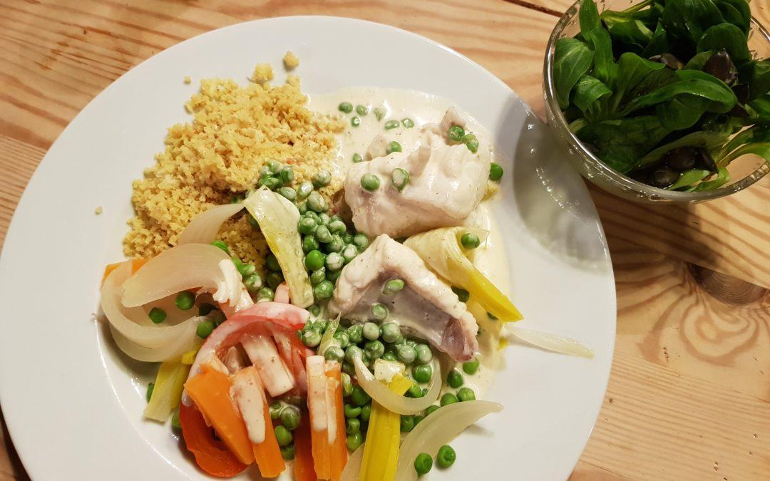 Filet de lotte et légumes vapeur sauce coco